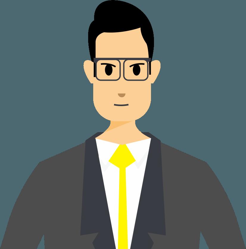 grafika przedstawiająca mężczyznę w okularach